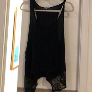 Black Charlotte Russe tank with lace. Asymmetric.